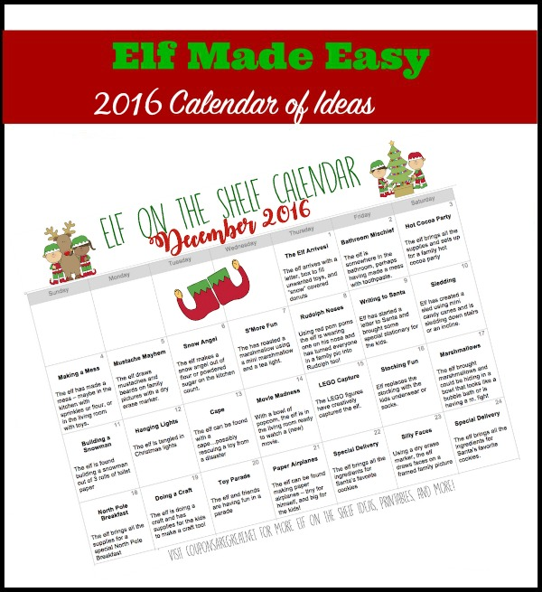 printable elf on the shelf calendar of ideas elfontheshelf. Black Bedroom Furniture Sets. Home Design Ideas