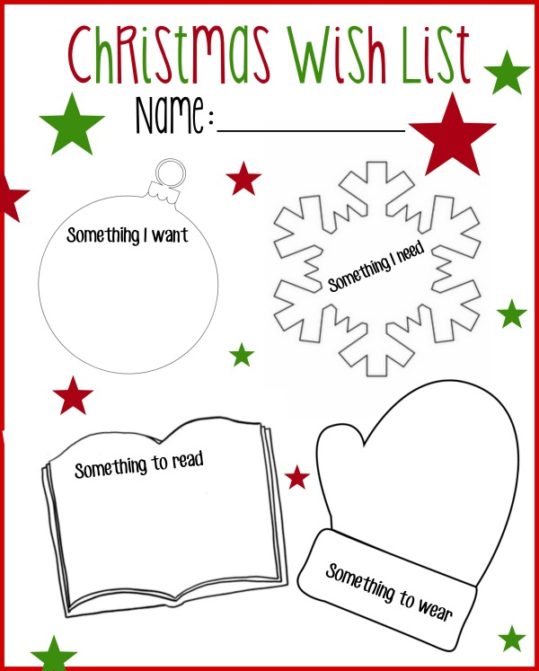 image about Printable Wish Lists named Printable Xmas Want Checklist: Require, Study, Dress in, Need to have