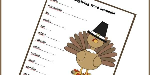 Keep Kids Busy in November: Thanksgiving Word Scramble