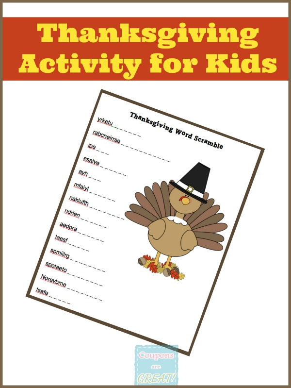 "That ""I'm bored"" downtime that happens in November just became filled. This Thanksgiving word scramble is the perfect activity for school aged kids!"