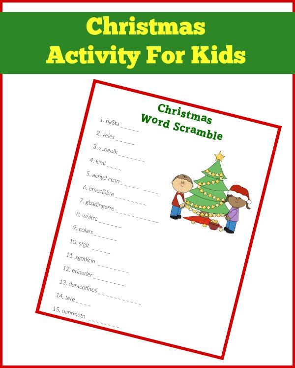 Print this Christmas word scramble for your kiddo for some down time in December!
