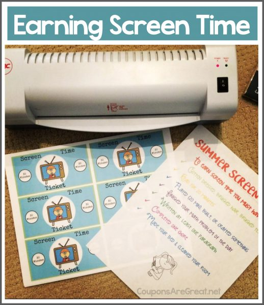 earning screen time for kids