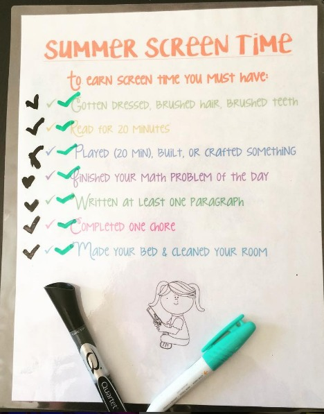 laminated screen time checklist