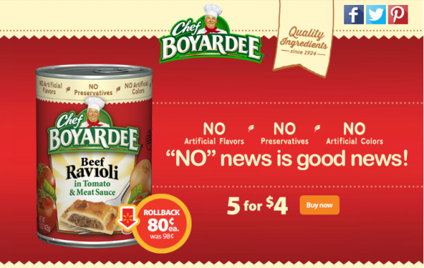 With no artificial flavors, colors, or preservative this Chef Boyardee deal is worth stocking up for!