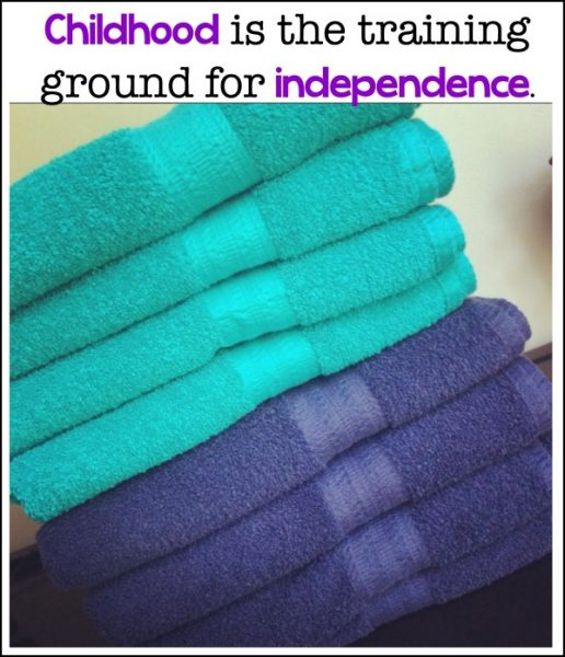 Raising responsible kids is an important parenting task. Cleaning up after oneself is a skill that can be mastered with a little bit of guidance. Take towels for example. Each child has her own color and we can see who is cleaning up (and who isn't).