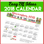 Printable Elf on the Shelf Calendar of Ideas #ElfOnTheShelf