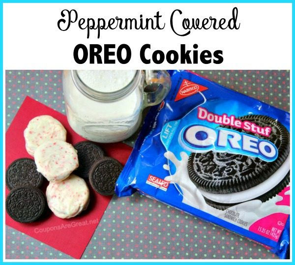 Peppermint covered OREO cookies are a delicious treat....and one of Santa's favorites! This recipe is easy enough for kids to make.