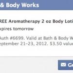 Bath and Body Works Freebie: Free 2 oz Aromatherapy Body Lotion or Wash