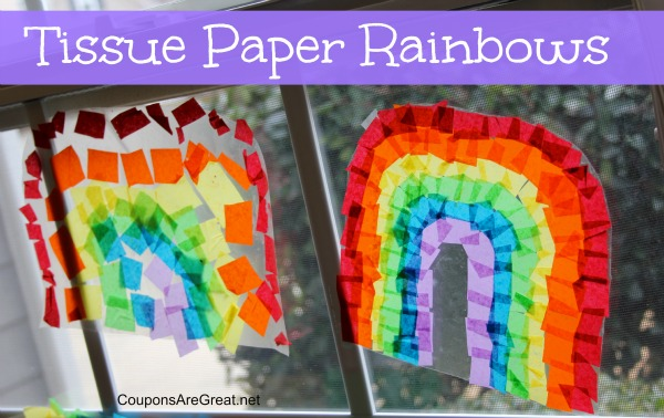 Craft Idea: How to Make Contact Paper Tissue Paper Rainbows