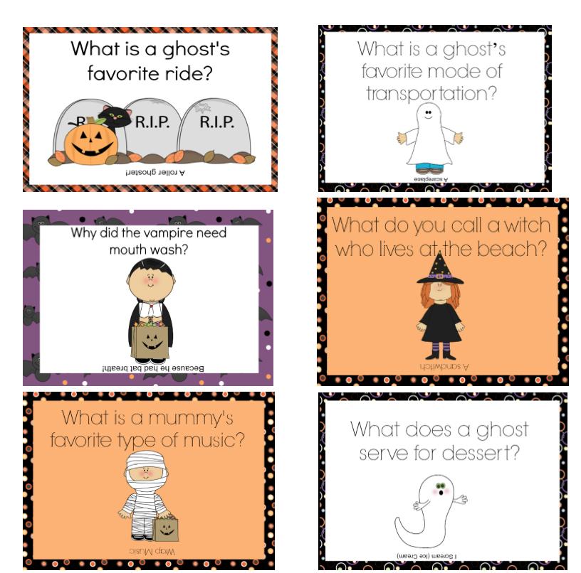 Printable Halloween Lunchbox Notes Using Halloween Jokes
