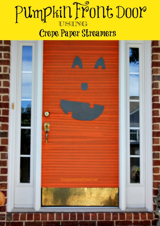 Halloween Decorations Pumpkin Front Door With Crepe Paper