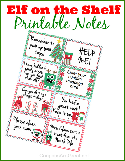 Elf on the Shelf Printable Notes: Can Use as Lunchbox ...
