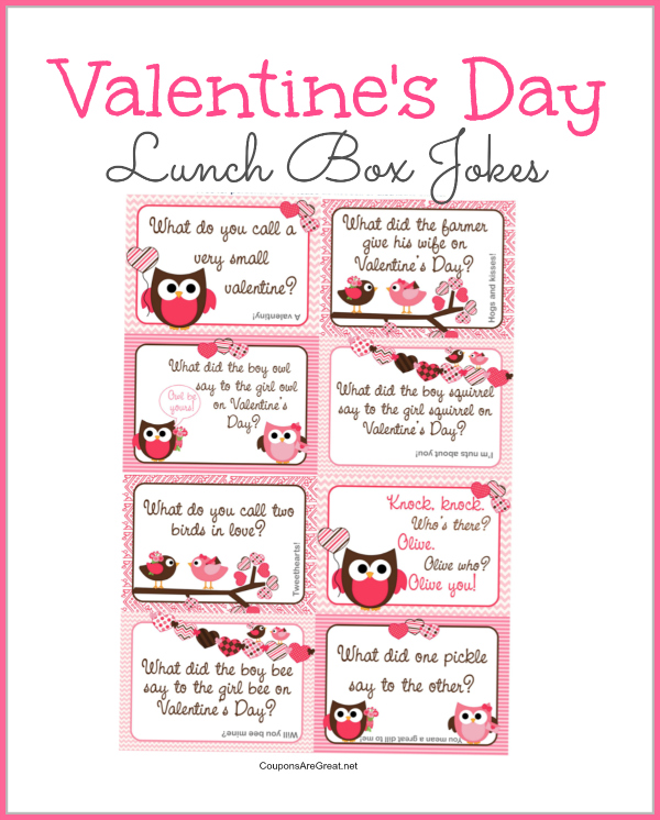 Printable Valentine's Day Lunch Box Notes Using Valentines Jokes for Kids