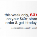 Saving Money at Target: Save $10 off Your $40 In Store Pickup Order