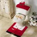 Decorate with this Santa Bathroom Set – Toilet Cover & Rug Included